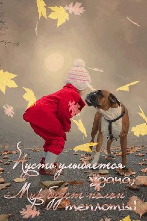 Фото Девочка с бульдогом смотрят друг на друга, летят листья (Пусть улыбается удача, мир будет полон теплоты!)