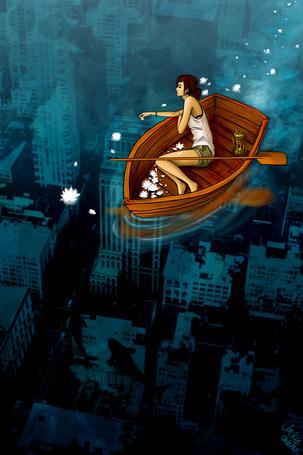 Фото Девушка в лодке с лотосами парит над городом, ву Jackie de Leon