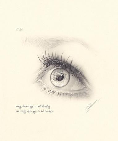 Фото Открытый глаз, автор Christian Simon (Every closed eye is not sleeping and every open eye is not seeing / Не каждые закрытые глаза-спят, не каждые открытые глаза-видят)