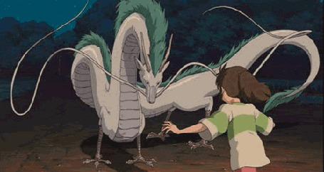 Фото Тихиро с драконом Хаку, мультфильм Унесенные призраками / Spirited away