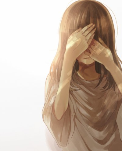 photo of girls who hide her face with hair № 22587