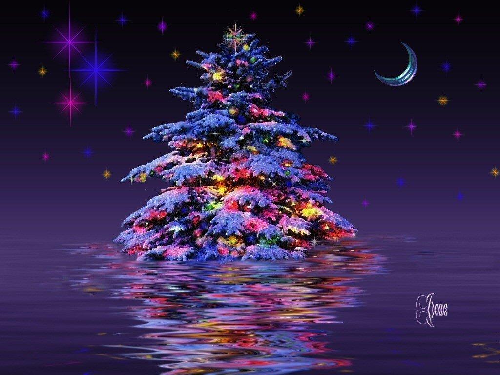 Фото Новогодняя елка с украшениями стоит в воде с ...