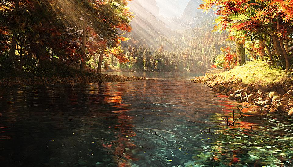 Фото Быстрая горная река, несущая свои воды между деревьями, с осенней раскраской листьев