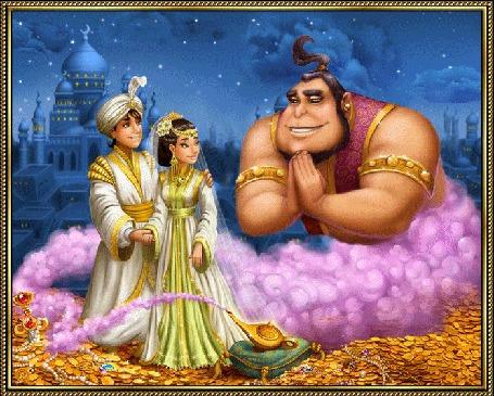 Фото Алладин, принцесса Будур и джин Маймун, сказка Волшебная лампа Алладина