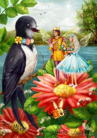 Фото Ласточка разговаривает с королем эльфов и Дюймовочкой, ставшей королевой Майей, сказка Дюймовочка