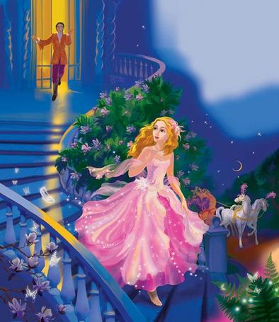 Фото Золушка убегает с бала и на лестнице теряет хрустальную туфельку, сказка Золушка / Cinderella