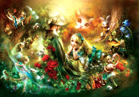 Фото Алиса и ее приключения, коллаж к сказке Алиса в стране чудес / Alice in Wonderland