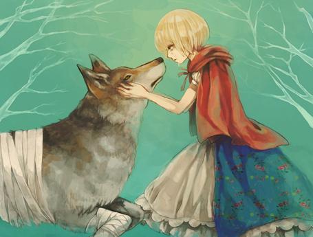 Фото Красная шапочка жалеет раненого волка, арт по сказке Красная шапочка / Red Riding Hood в стиле аниме, art by Narcolepsy