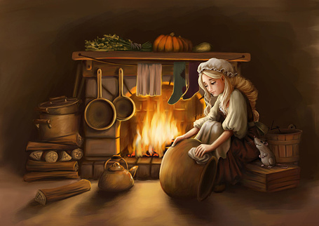 Фото Девушка сидит у камина и отчищает котел, иллюстрация к сказке Золушка / Cinderella, автор Лия Селина / Lia Selina