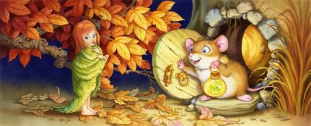 Фото Дюймовочка стоит под желтеющим деревом завернулась в листик и стучится в домик мыши