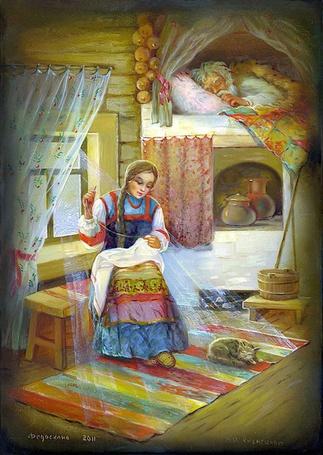 Фото Иллюстрация девушка сидит в доме, вяжет, рядом на печи лежит старик, из мультфильма Морозко / Frost
