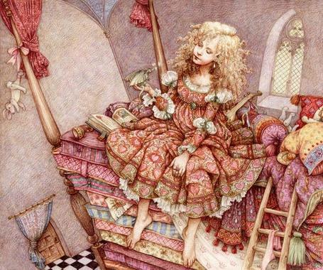 Фото Принцесса на горошине, иллюстрация к одноименной сказке, автор Anne Yvonne Gilbert
