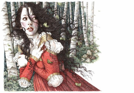 Фото Белоснежка / Snow White бежит по лесу, иллюстрация к сказке Белоснежка и семь гномов / Snow White and the Seven Dwarfs, автор Anne Yvonne Gilbert