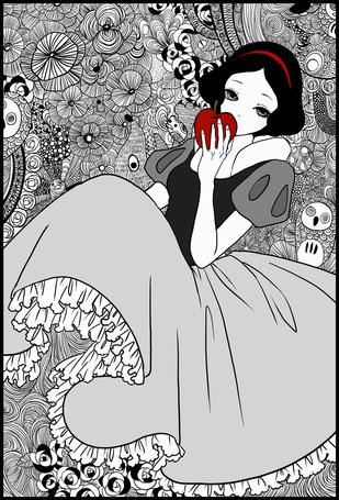 Фото Snow White / Белоснежка прислонила яблоко к своим губам, из сказки Snow White and the Seven Dwarfs / Белоснежка и семь гномов в стиле манги