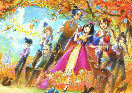 Фото Snow White / Белоснежка держит в руке яблоко, из сказки Snow White and the Seven Dwarfs / Белоснежка и семь гномов в стиле манги