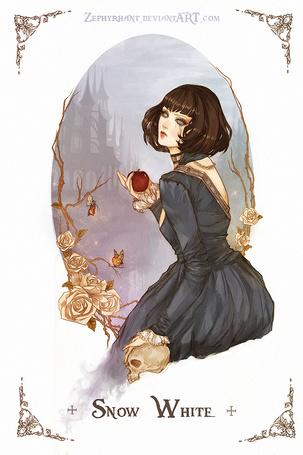 Фото Snow White / Белоснежка держит в руке яблоко, из сказки Snow White and the Seven Dwarfs / Белоснежка и семь гномов в стиле манги, art by zephyrhant
