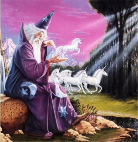 Фото Волшебник Мерлин, приглашающий единорогов в кельтские леса