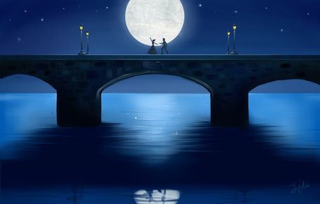 Фото Влюбленные на мосту на фоне огромной луны, by liliribs