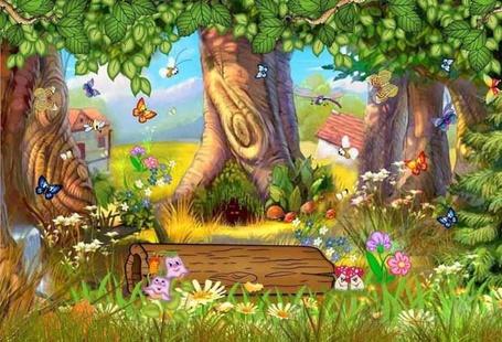 Фото Веселый волшебный лес с большими деревьями и добрыми жителями: бабочками, грибочками, цветочками