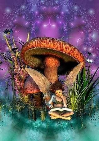 Фото Девочка эльф читает сказки, сидя под большим волшебным грибом