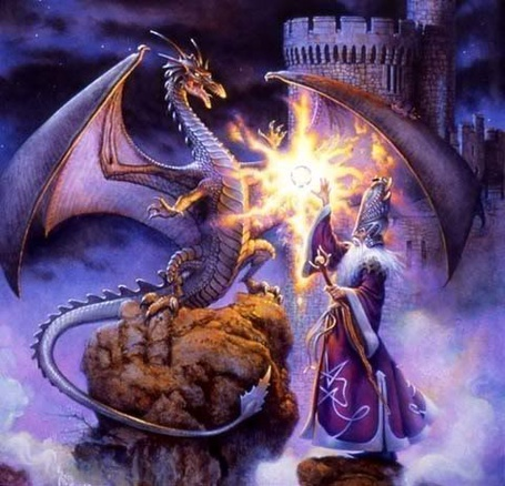 Фото Колдун Мэрлин с огнедышащим драконом