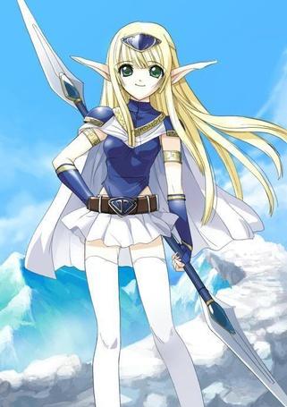 Фото Воинственная девочка эльф из японского аниме