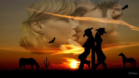 Фото Отвернувшиеся друг от друга девушка и парень на фоне целующейся пары