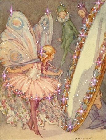 Фото Рисованные девочка-фея в розовом платье-пачке смотрящаяся в большое зеркало, которое держат дети, одетые в карнавальные костюмы