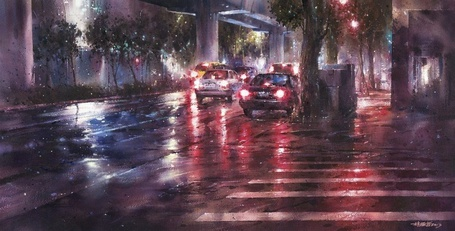 Фото Машины едут по мокрой дороге, художник Lin Ching-Che