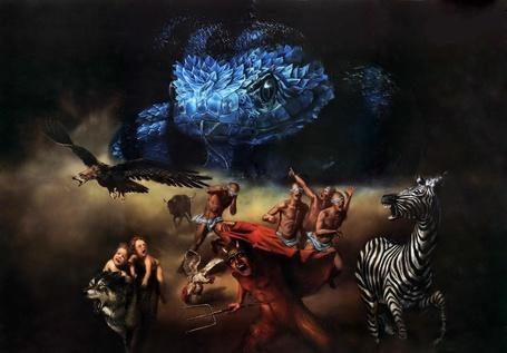 Фото Животные и люди убегают от синего змея