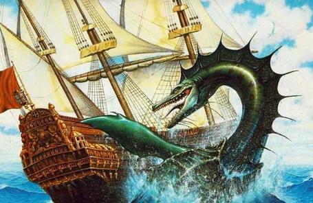 Фото Подводный дракон рушит корабль, плывущий по морю