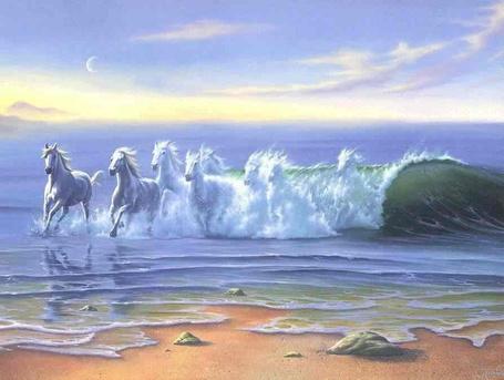 Фото Море, на золотистый песок набегает волна в виде белогривых коней (© царица Томара), добавлено: 10.10.2014 14:19