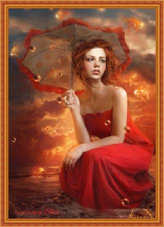 Фото Девушка в красном платье с зонтом в руках