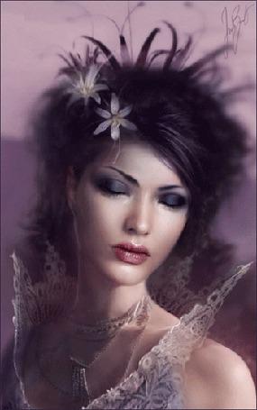 Фото Голубоглазая девушка с цветами в волосах