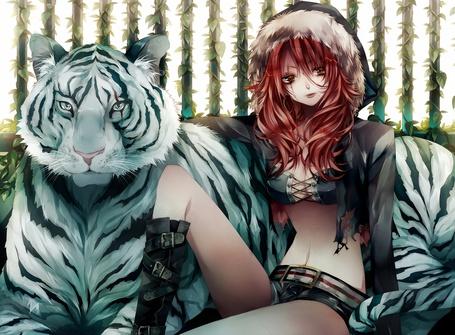 Фото Девушка с белым тигром
