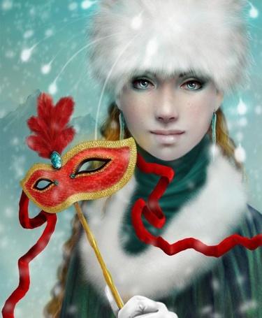 Фото Зеленоглазая девушка в зимней одежде, держит в руке карнавальную маску в виде очков, с красными перьями и красной лентой, вокруг нее сверкают бенгальские огни