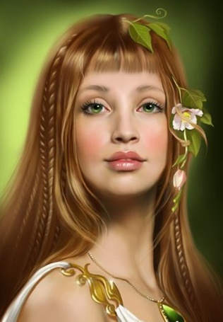 Фото Девушка с зелеными глазами, с заплетенными в косички и волосы веточками с цветами и с зеленым кулоном на шее, иллюстратор Татьяна Доронина
