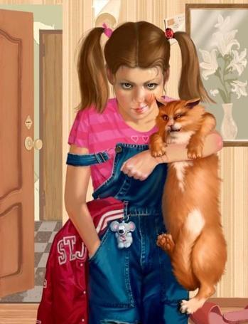 Фото Девушка с косичками, в джинсовом комбинезоне с угрожающим видом на лице, стоит в комнате и держит одной рукой рыжего кота, тоже смотрящего с угрожающим видом. Иллюстрация фрилансера Татьяны Дорониной