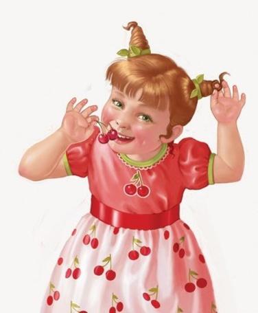 Фото Девочка в платье с нарисованными красными вишенками, со смешной прической на голове смеется, подносит ко рту две красные вишни одной рукой, а другую руку подняла вверх. Иллюстрация фрилансера Татьяны Дорониной
