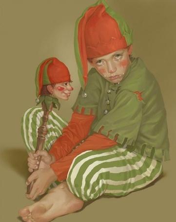Фото Мальчик в костюме Петрушки сидит с печальным взглядом, со слезами на лице и держит в руках игрушку Петрушки. Иллюстрация фрилансера Татьяны Дорониной
