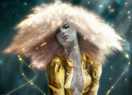 Фото Девушка с развевающимися белыми волосами, белой пентаграммой на теле, сидит закрыв глаза. Вокруг нее летают сверкающие змейки с огненными бликами