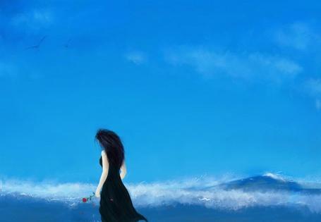 Фото Девушка с черными волосами, в черном платье идет по берегу моря, держа в руке красную розу, с которой слетают лепестки, в небе летают чайки, работа болгарского художника Ventsislavа Nikolovа