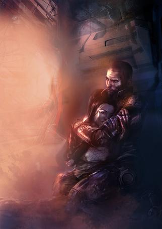 Фото Арт к игре Mass Effect, Шепард и Миранда обнимаются