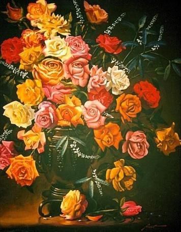 Фото Букет из желтых, розовых, красных роз и белых цветов стоит в вазе, на букете просматривается женское лицо, художник Дональд Раст / Donald Rast