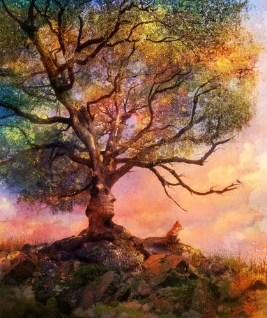Фото На горе растет дерево, на стволе которого выделяется профиль человеческого лица, рядом сидит лиса, автор Aimee Stewart