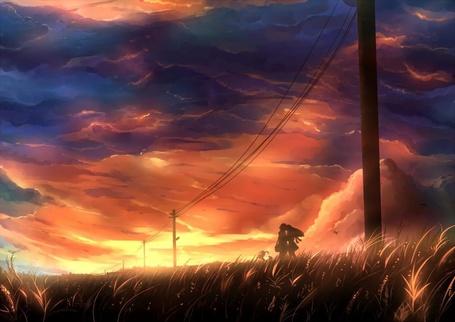 Фото Парень и девушка стоят в траве на фоне красивого неба на закате дня