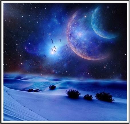 Фото Ночь в пустыне, в небе видны две планеты и стая пролетающих птиц
