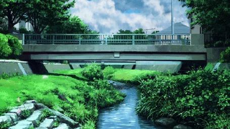Фото Мост через ручей, кадр из аниме Эхо террора / Террор в Токио / Terror in Resonance / Zankyou no Terror