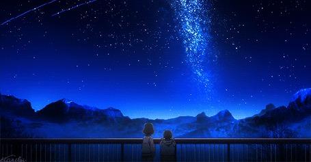 Фото Дети смотрят на падающие звезды