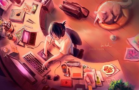 Фото Девочка сидит за ноутбуком, на полу лежит пес, by Jon-Lock